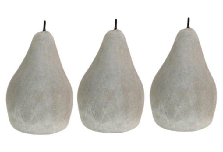 S/3 Small Stone Pears, Gray