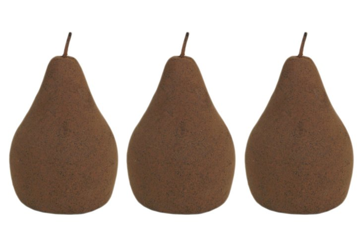 S/3 Small Stone Pears, Rust