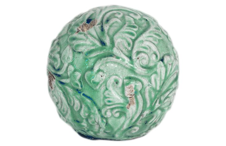Terracotta Garden Orb, Green