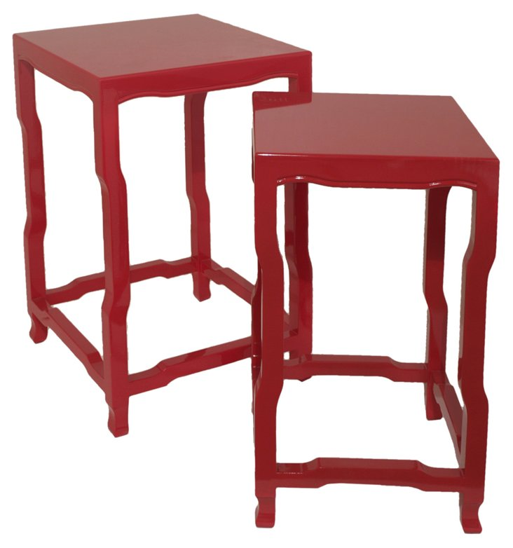 Red Julie End Table, Set of 2