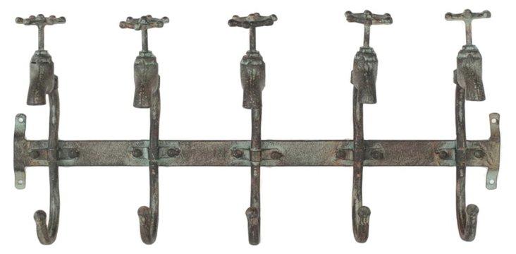 Rustic 5-Faucet Wall Hook