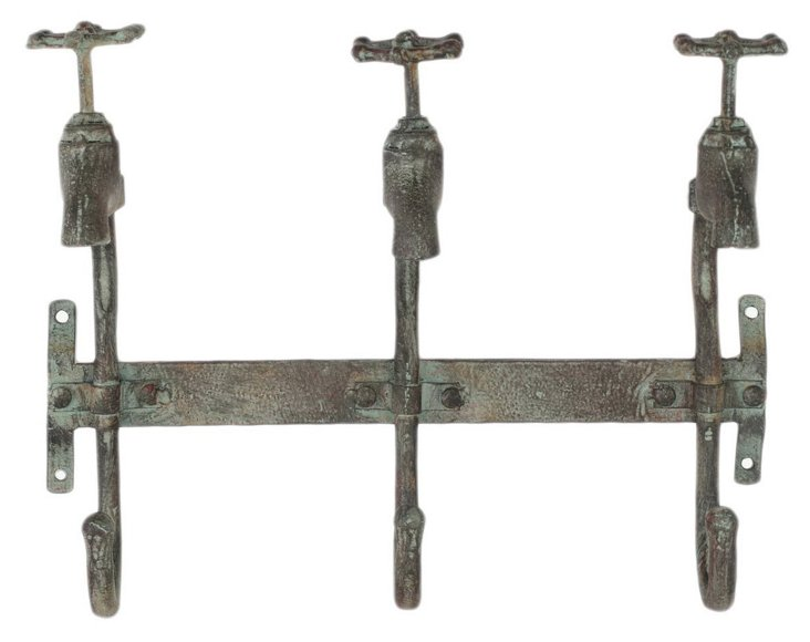 Rustic 3-Faucet Wall Hook