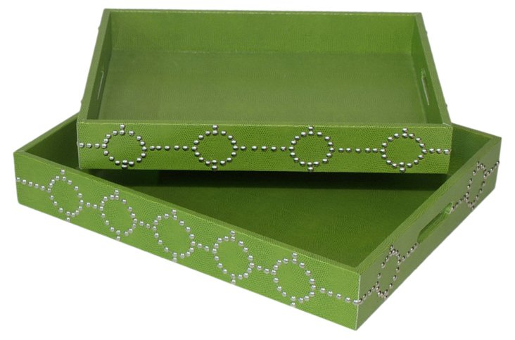 Asst. of 2 Studded Trays, Green