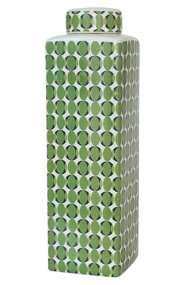"18"" Covered Ceramic Jar, Green"