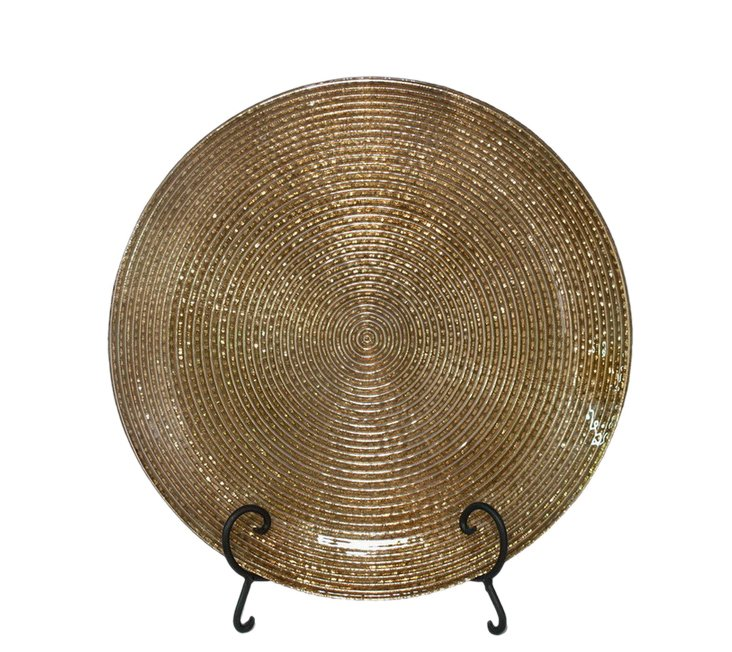 """18"""" Glass Plate, Gold"""