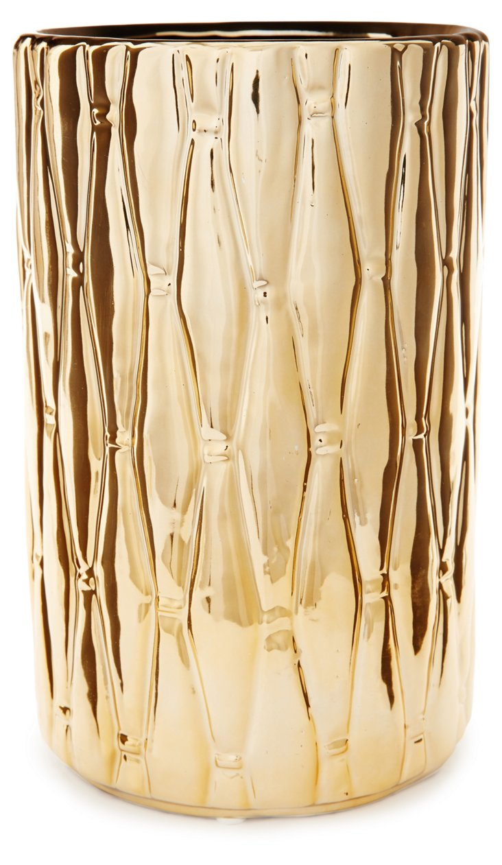 """10"""" Quilted Ceramic Vase, Gold"""