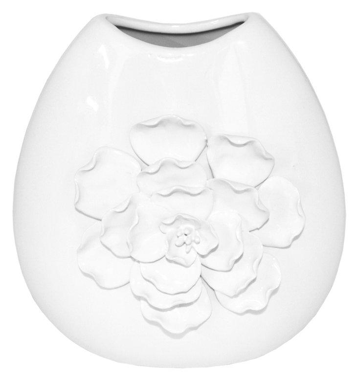 "10"" White Ceramic Vase"