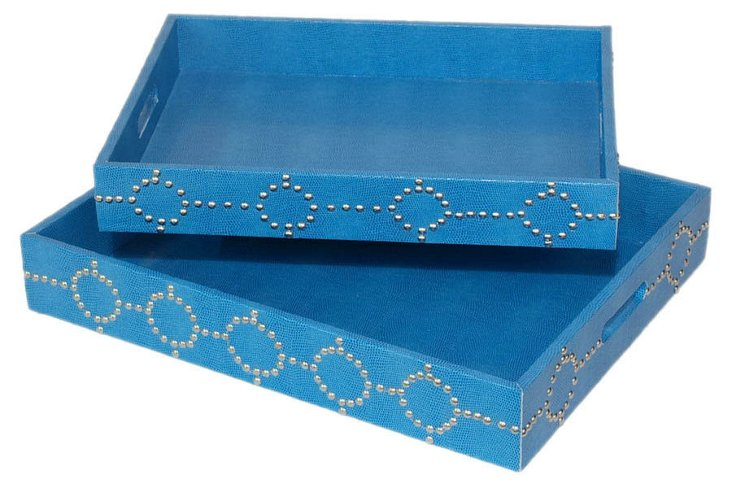 Asst. of 2 Studded Trays, Blue