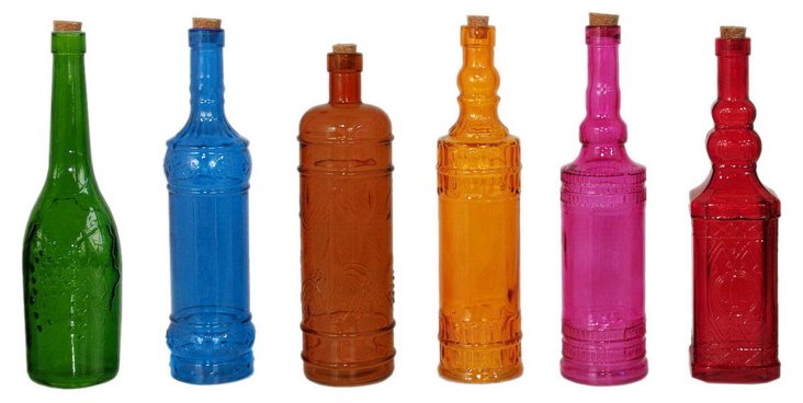 S/36 Colored Glass Bottles, Large