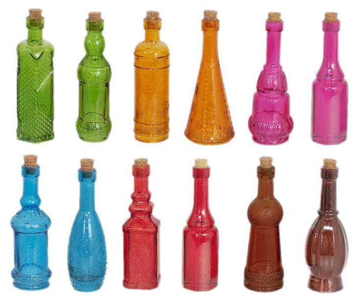 S/72 Assorted Colored Glass Bottles