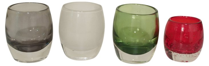 S/4 Large Colored Glass Votives