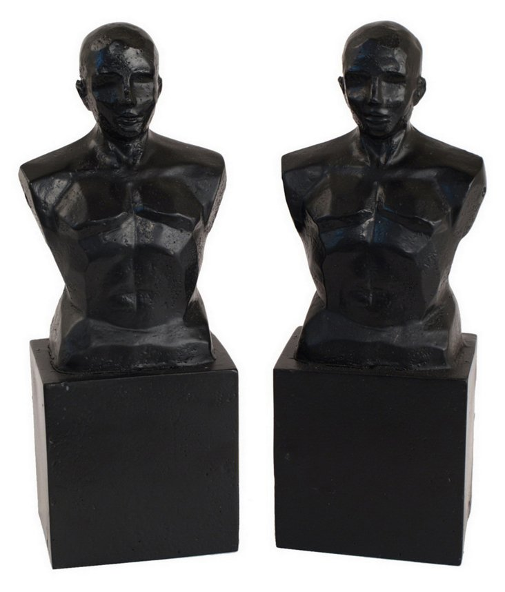 Pair of Male Bust Bookends, Black