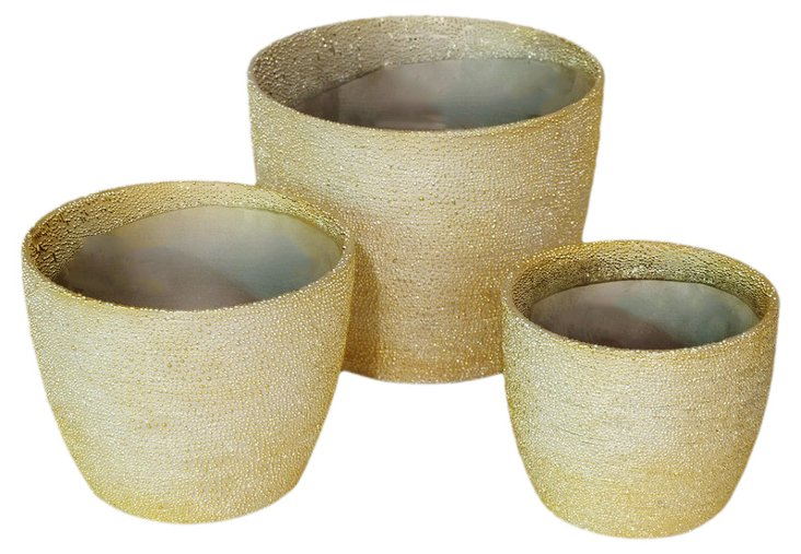 S/3 Iridescent Ceramic Planters