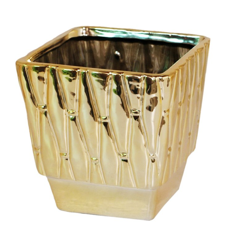 "7"" Quilted Gold Ceramic Planter"