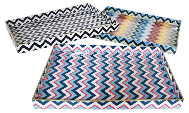 19x14 Zigzag Trays, Asst. of 3
