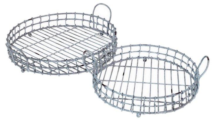 S/2 Wire Basket Trays, Gray