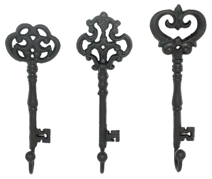 Asst. of 3 Cast Iron Key Hooks