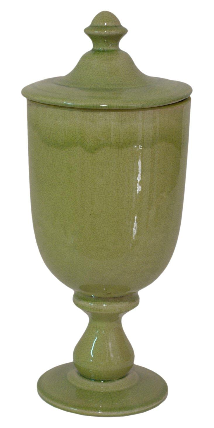 """19.5"""" Tall Ceramic Urn, Moss"""