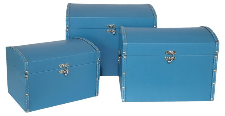 Asst. of 3 Convex Lined Boxes, Blue