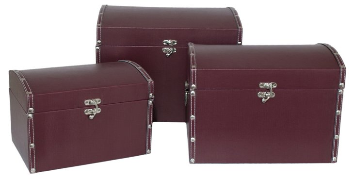 Convex Lined Burgundy Boxes, Asst. of 3