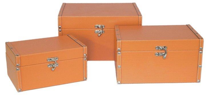 S/3 Small Flat Boxes, Orange