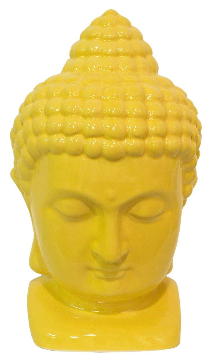"""15"""" Ceramic Buddha Figurine, Yellow"""