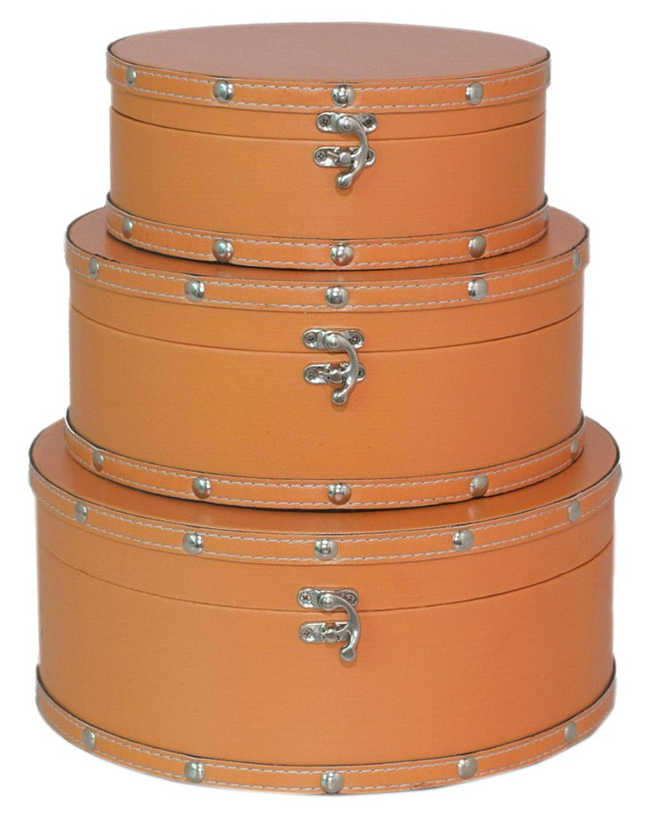 Asst. of 3 Circular Boxes, Orange