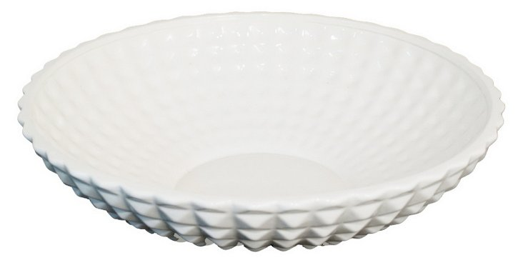 """19"""" Fluted Pyramid Bowl, White"""