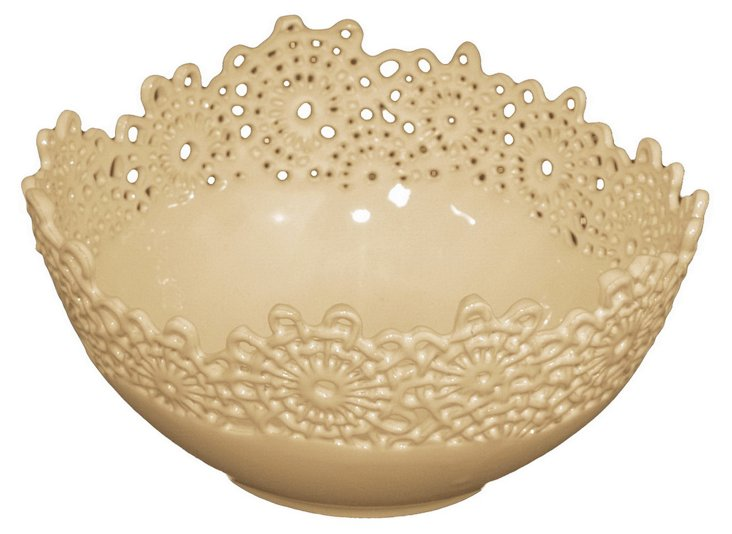 "10"" Lace Ceramic Bowl"