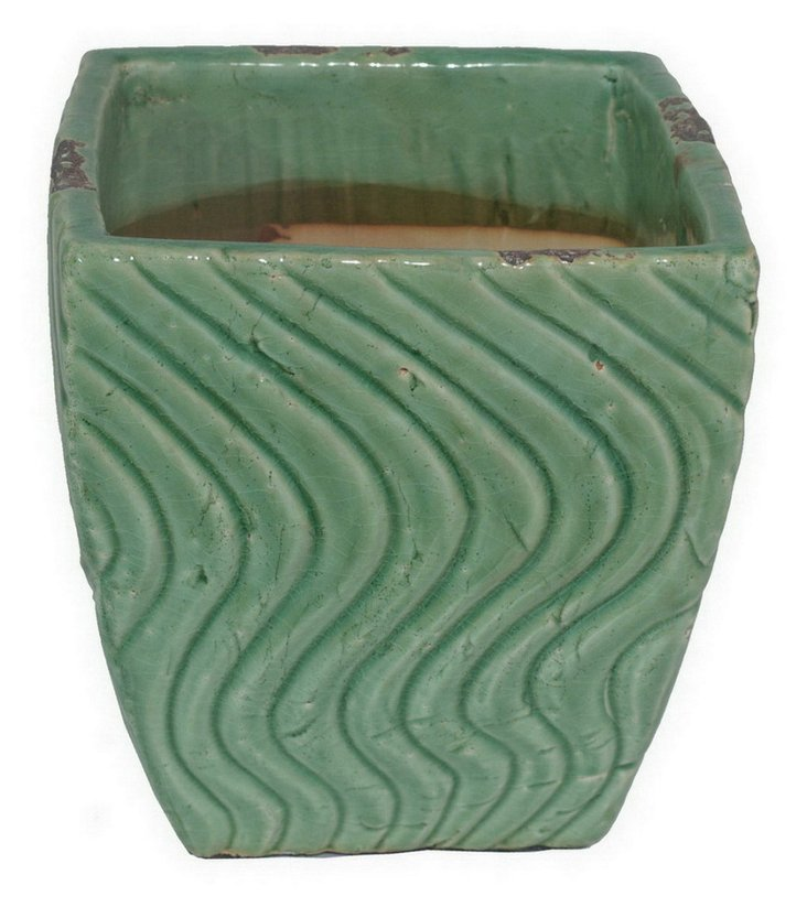"9"" Wave Planter, Green"