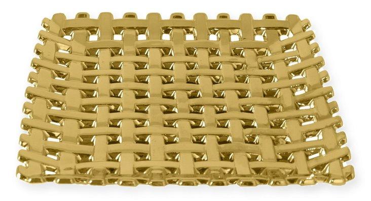 """12"""" Ceramic Tray, Gold"""