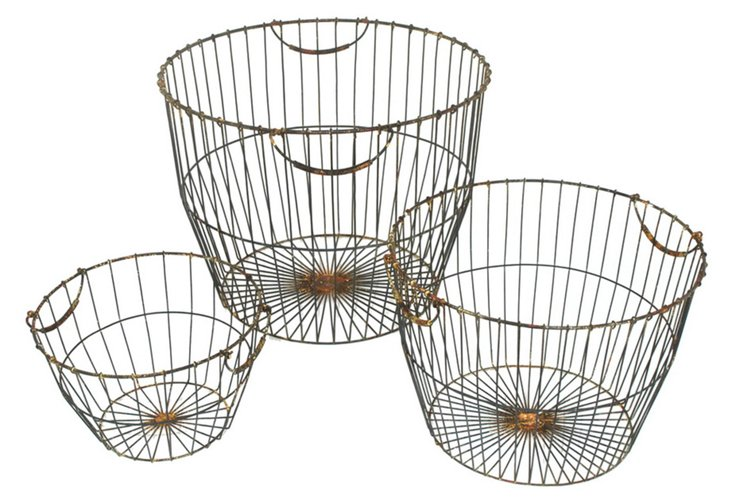 S/3 Asst. Metal Bushel Baskets