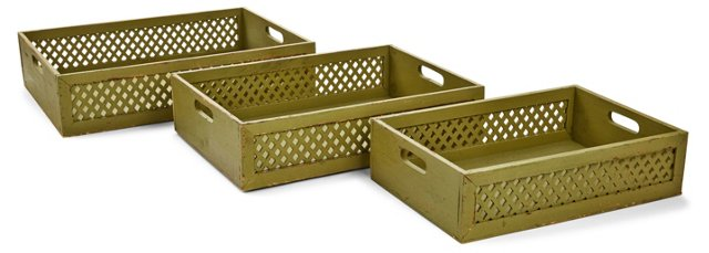 Asst. of 3 Wood Lattice Trays, Green