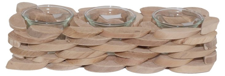 """10"""" Wooden 3-Candle Holder"""