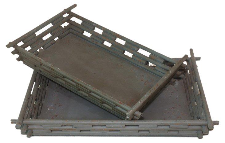 Asst. of 2 Log Cabin Trays, Gray