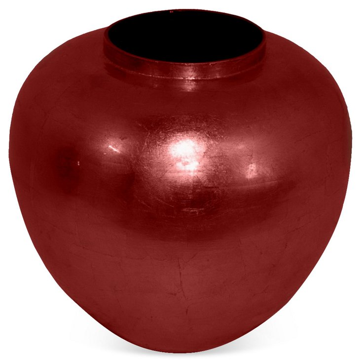 """11"""" Bamboo Vase, Red"""