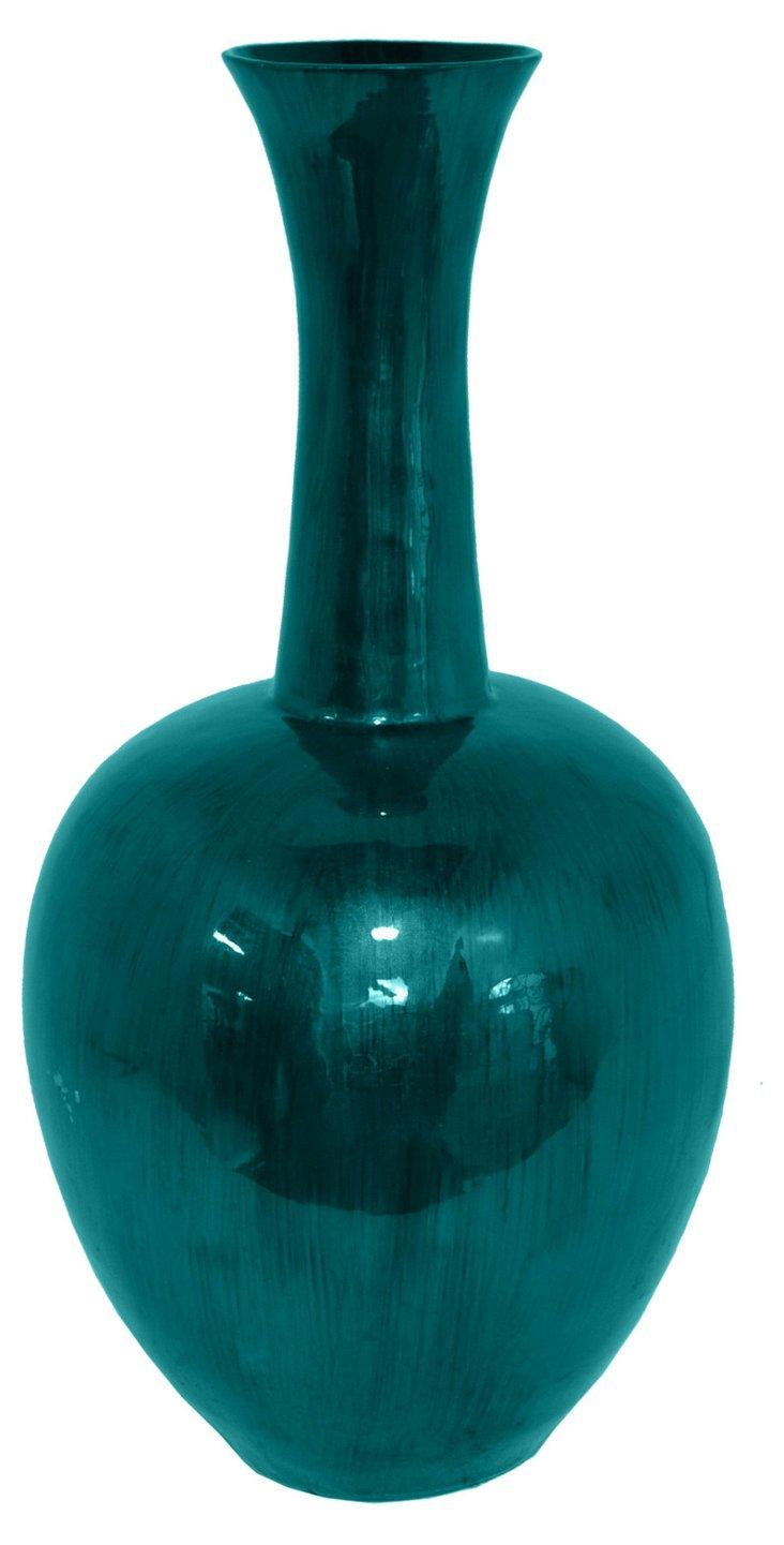 """26"""" Bamboo Vase, Blue"""