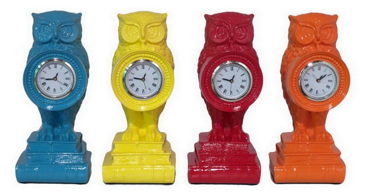 Asst. of 4 Colorful Owl Clocks