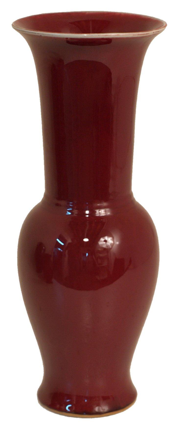 """18"""" Ceramic Vase, Red"""