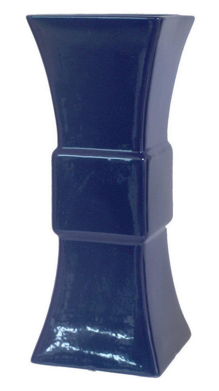 """15"""" Gloss Vase, Navy"""