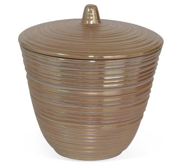 "9"" Wide Ceramic Jar, Gold"