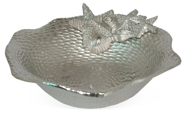 "10"" Hammered Seashell Bowl"