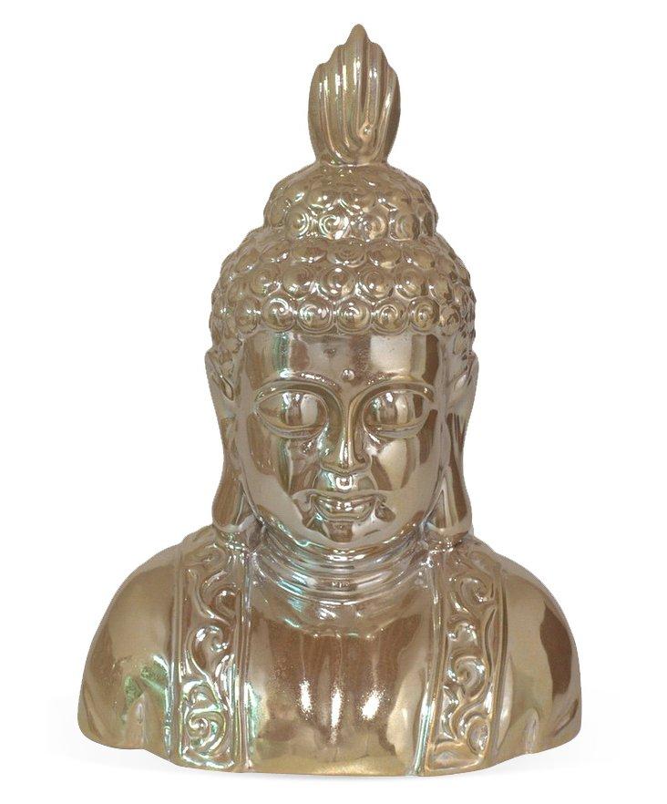 "14"" Ceramic Buddha, Gold"