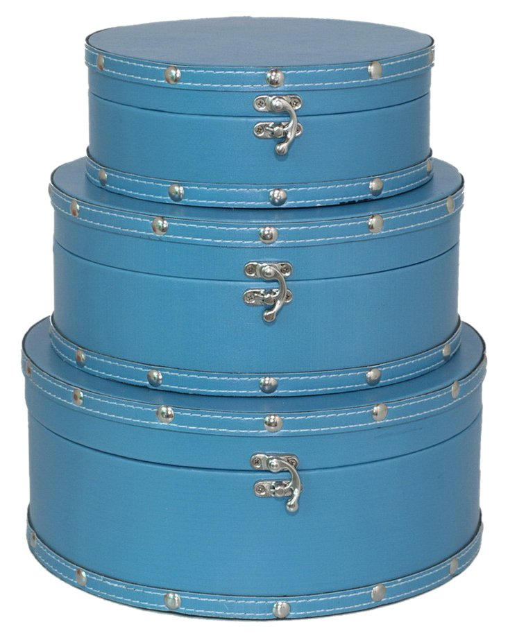 Asst. of 3 Round Lined Boxes, Blue