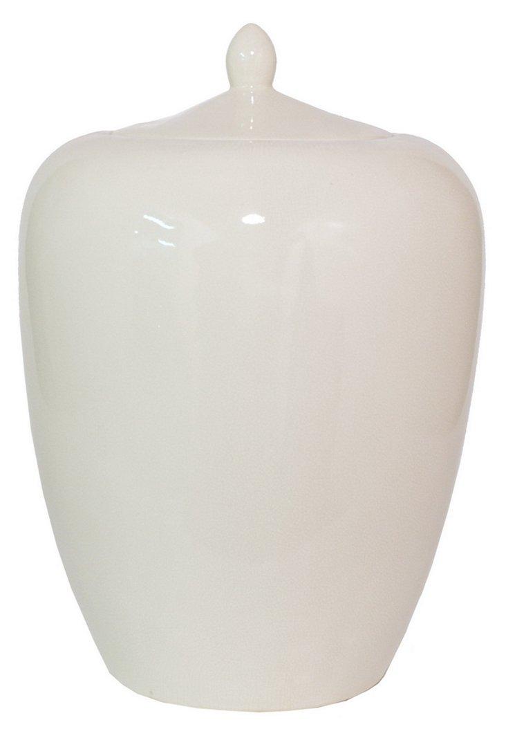 "19"" Jar w/ Lid, White"