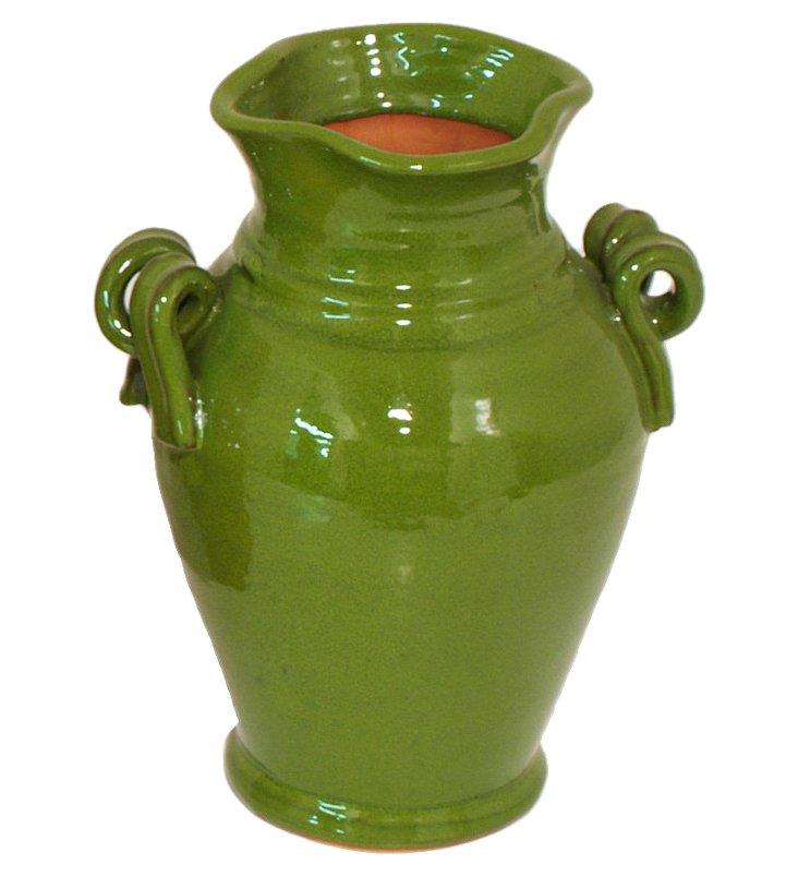 """14"""" Ceramic Urn, Green"""