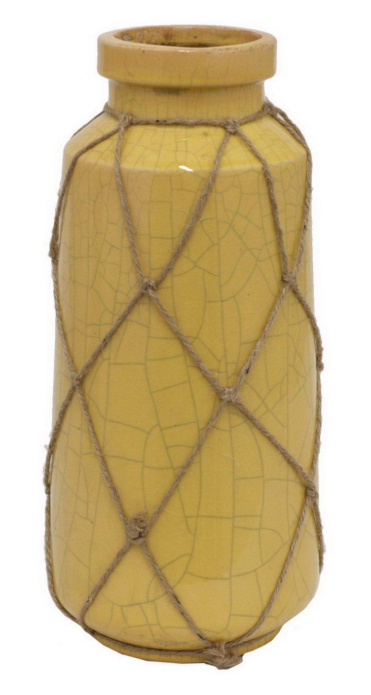 """14"""" Yellow Cargo Vase"""