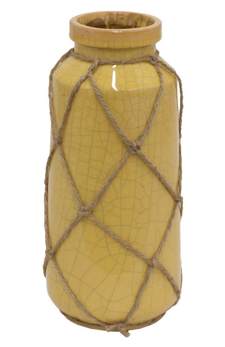 """11"""" Yellow Cargo Vase"""