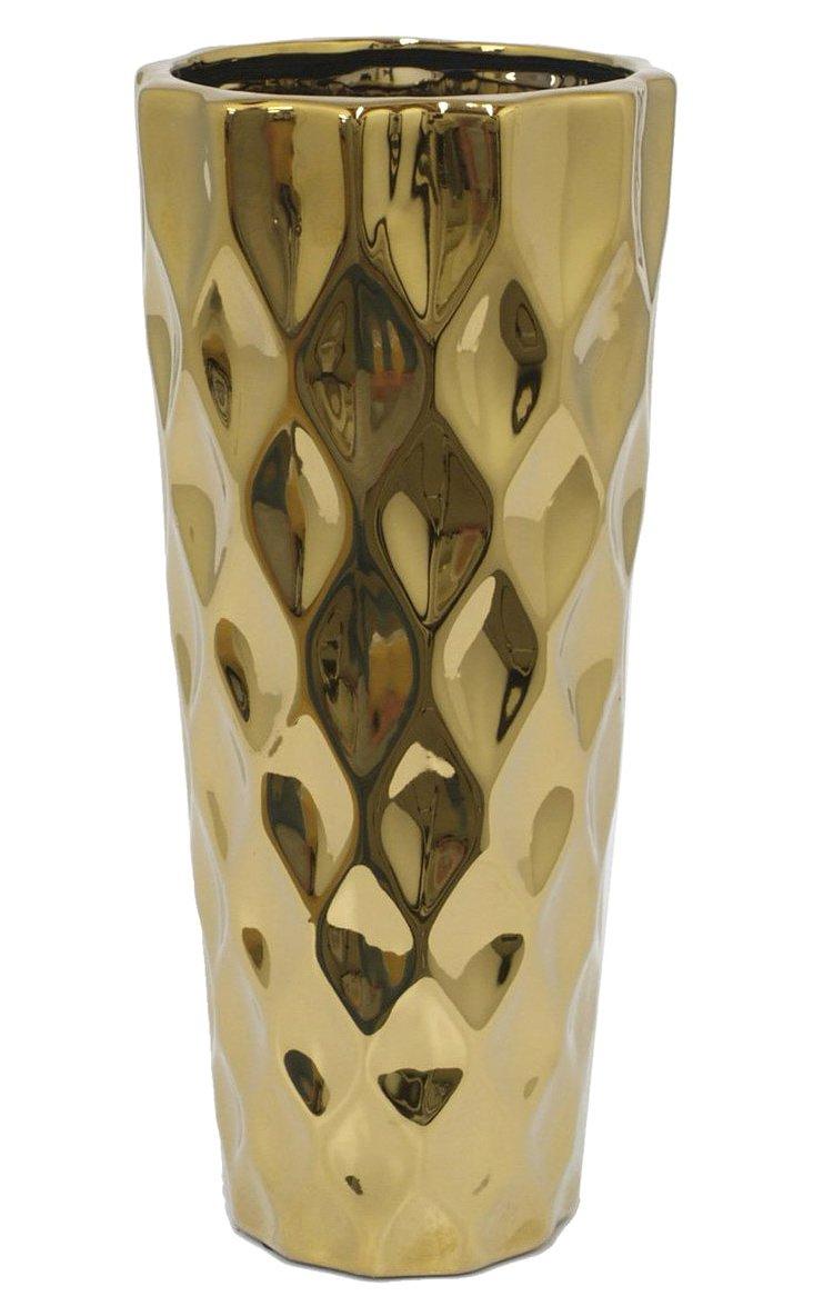 "12"" Texture Vase, Gold"