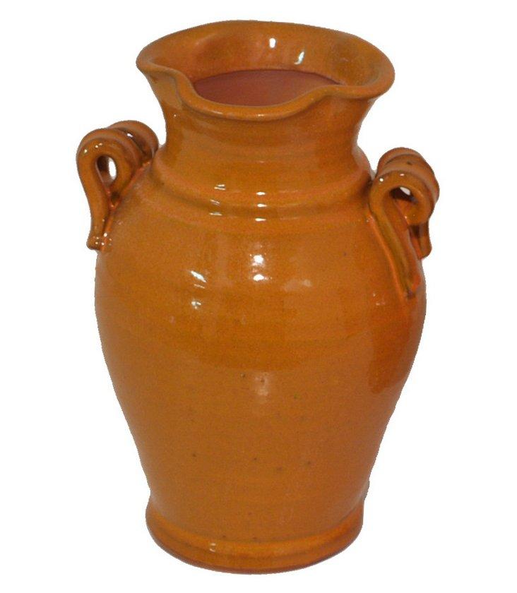 """13"""" Ceramic Vase, Orange"""
